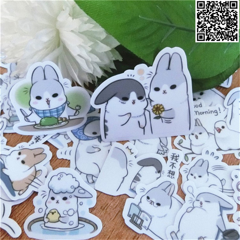 40 Pcs A Few Rabbits Everyday Paper Sticker For Luggage Skateboard Phone Laptop Moto Bicycle/Eason Stickers/DIY Scrapbooking