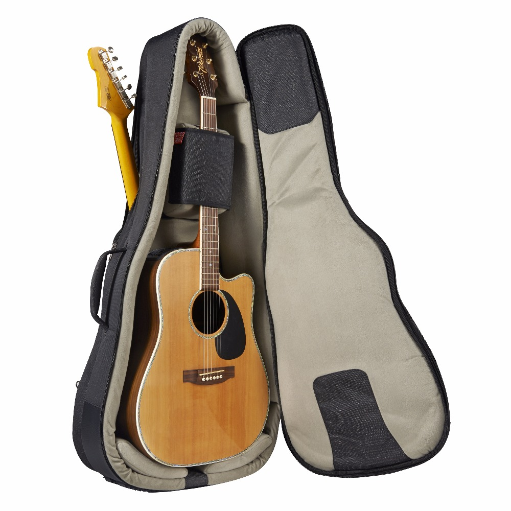 Music Area High-end Double Gig Bag for 1 Acoustic Guitar and 1 Electric Guitar Waterproof 30mm Cushion 900D Polyester
