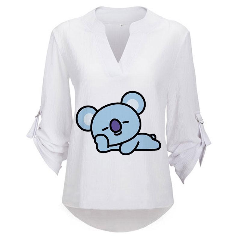 ZZSYKD 2018 Women Casual Hooded Bt21 White Sweatshirt Lace Long Sleeve Pullover Ladies Tops Bts Print Hoodies