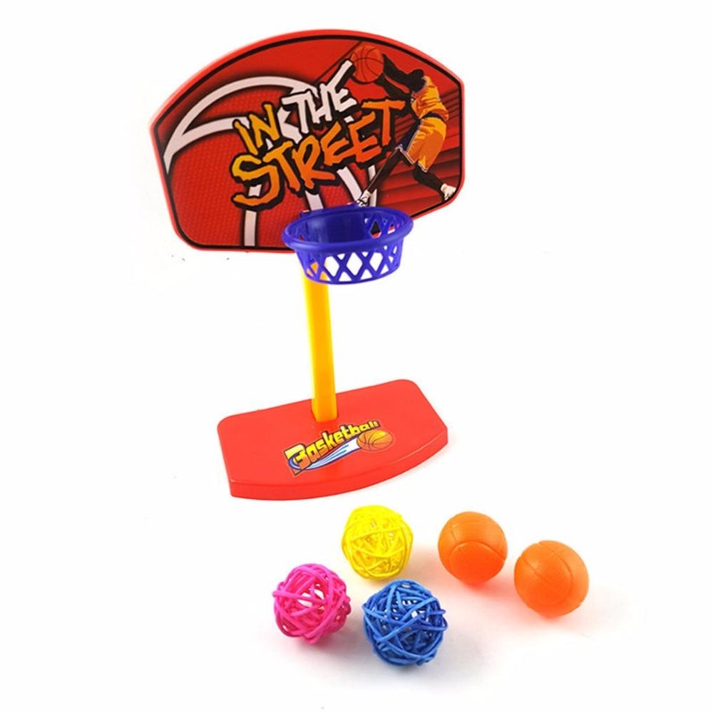 Plastic Pet Bird Chew Toy 5pcs Balls Parrot Parakeet Budgie Basketball Toys Hoop Props Birdie Small Animal Training Supplies