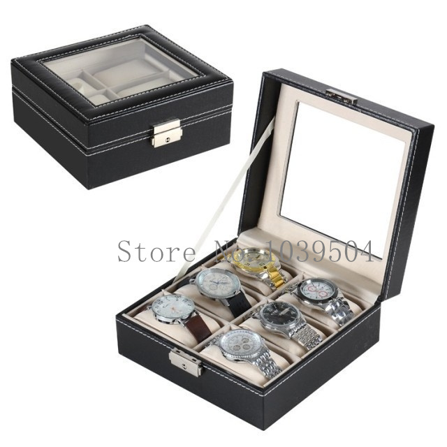 Pantalla Del Reloj cuadrado 6 Grids Caja de Reloj Negro Top Quanlity caja de Almacenamiento de Cuero de LA PU Del Reloj Cajas de Regalo Y Caja de Embalaje D019