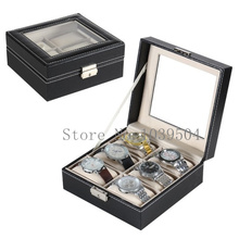 Square 6 Grids Leather Watch Boxes Case Black Watches Organizer With Lock New Mechanical Watch Display Packing Box