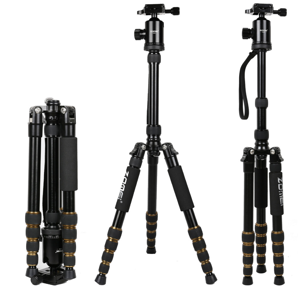 Zomei Z699 tripod Professional SLR camera aluminum portable travel tripod Stand Monopod&Ball head for Canon, Nikon, Sony 2015 new upgrade q999s professional photography portable aluminum ball head tripod to monopod for canon nikon sony dslr camera