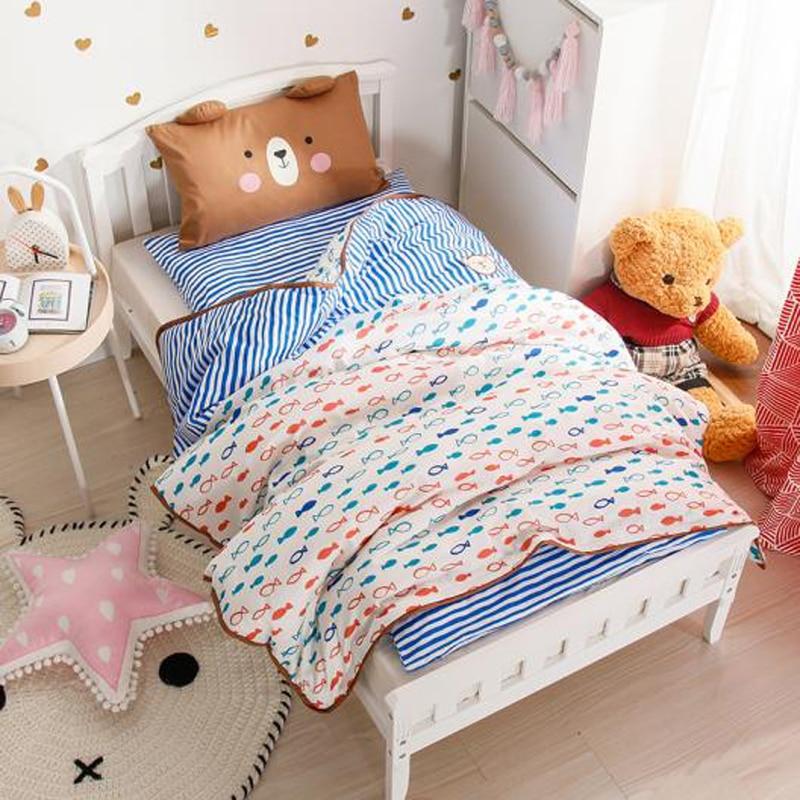 2018 Cartoon Colorful Fish Children Kids Baby Crib Bedding Set 3Pc Twin Size Cotton Fabric Duvet Cover Mattress Cover Pillowcase