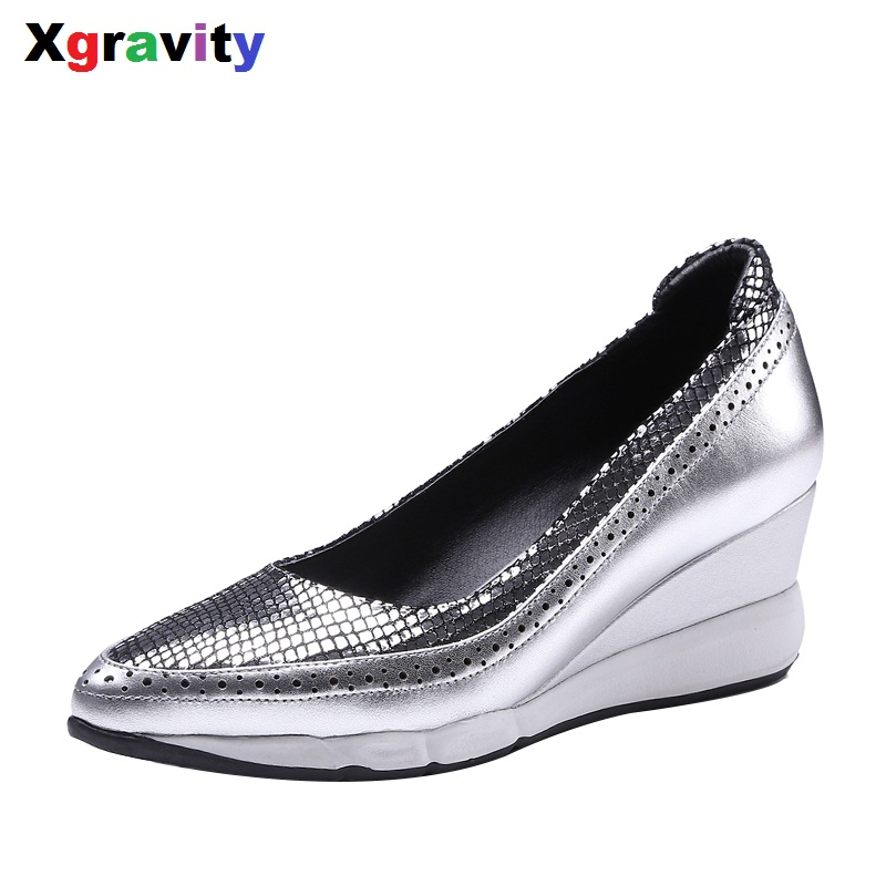 Xgravity New Autumn Spring High Heel Wedges Elegant Genuine Leather Pointed Toe Dress Shoes Fashion Women High Heels Shoes C008 new spring autumn women shoes pointed toe high quality brand fashion ol dress womens flats ladies shoes black blue pink gray