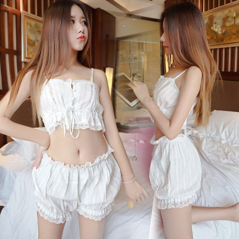 Cute Summer   Pajamas     Set   Lace straps Cotton Pijama for Woman Vadim Harajuku kawaii Plus Size Sleepwear Home Wear Two Piece   Set