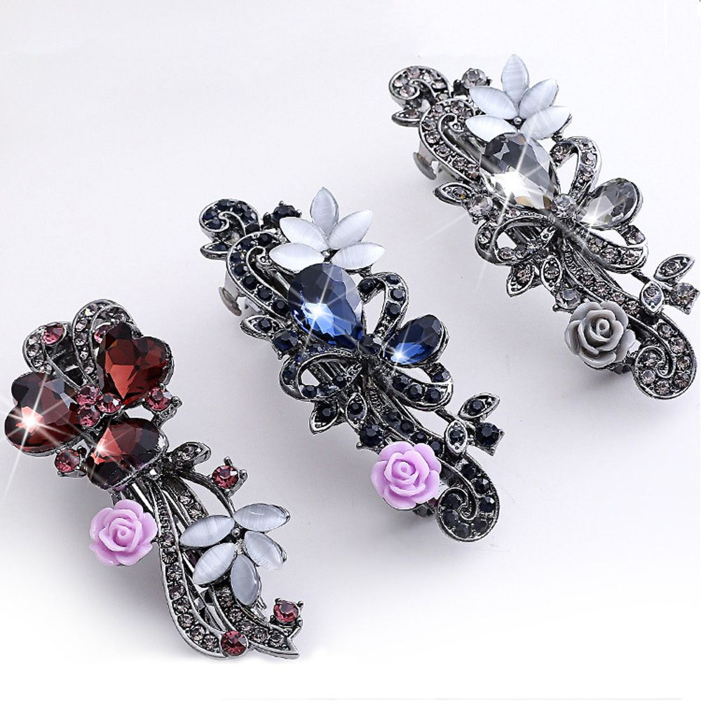 1PC Luxury Women Girls Crystal Hair Clips Opal Leaf Resin Flower Hairpins Headwear Jewelry Elegant Barrettes Hair Accessories pf leaf shape hairpins crystal cute headwear alloy hair clips barrette women girls headdress spring clip hair accessories ts1160