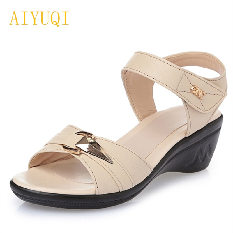 AIYUQI 2018 new genuine leather women sandals, comfortable lightweight summer middle-aged sandals, fish mouth plus size 41-43# aiyuqi 2018 new genuine leather women sandals summer flat middle aged mother sandals plus size 41 42 43 casual shoes female