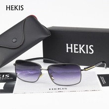 HEKIS Brand Brown Gradient Sunglasses Mens Sunglasses Driving Eyewear Accessories Sun Glasses Oculos De Sol For Men B2768