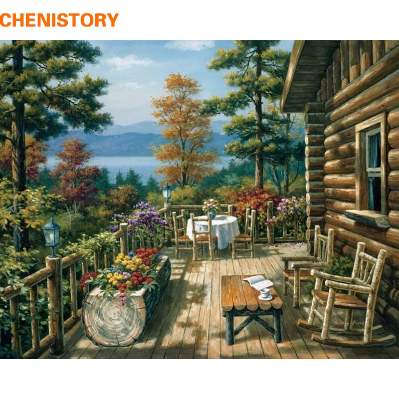 CHENISTORY Beautiful House DIY Painting By Numbers Modern Hos