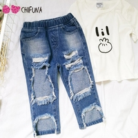 chifuna Girls Jeans 2018 New Fashion Brand Holes Denim Pants For 1 5Y Children's Clothing Baby Summer Style Outwear Kids Jeans