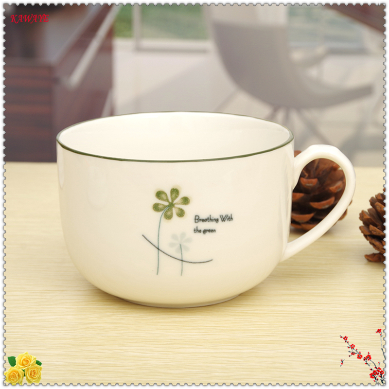 1set Large-capacity Ceramic Cup Lucky Simple Clover Gift Cup Couple Mug Home Supplies Office Afternoon Tea Coffee Mug 7ZDZ325