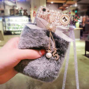 Image 5 - 3D חמוד ארנב שעיר חם פרווה בלינג ריינסטון קטיפה פרל כיסוי מקרה עבור SamsungS6 S7 S8 S9 S10 S20 בתוספת לייט Note5 8 9 10 20