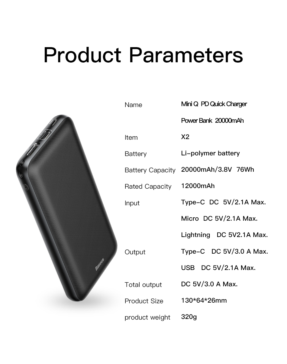 Baseus 20000mah PowerBank miniQ Power delivery Fast Charging Specifications