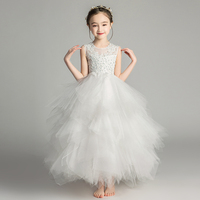 Elegant Long Beading Lace Girl Dress Sleeveless Flower Girl Dress Kids Performance Show Party Birthday First Communion Gowns