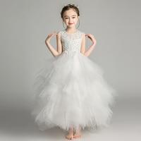 Elegant Long Beading Lace Girl Dress Sleeveless Flower Girl Dress Kids Performance Show Party Birthday First Communion Gowns