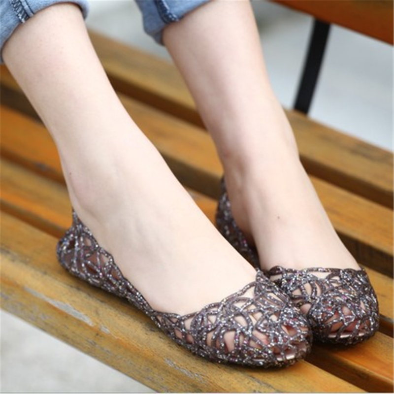 0dd1d5ce16d3 2017 Women s Summer Walking Breathable Hole Jelly Sandals Ladies  Comfortable and Softwalk Flat Heel Shoes Sandalias Mujer-in Slippers from  Shoes on ...