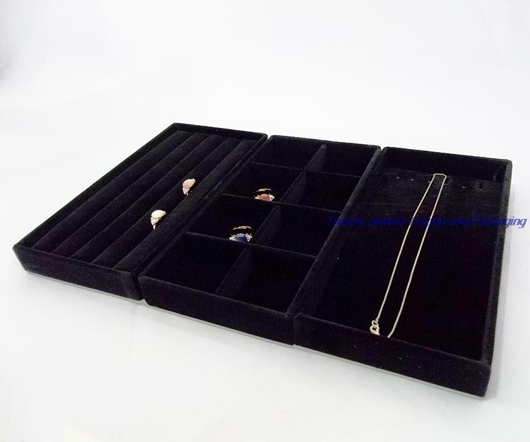 Hot Sale Portable Jewelry Display Velvet Tray Ring Display Storage