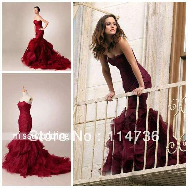 698aacabdfa1 Real Image Gossip Girl Leighton Meester Red Mermaid Strapless Chapel  Pleated Ruffles Wedding dresses