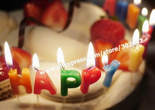FREE SHIPPING Candle Happy Birthday Cake Colorful Decoration Gift Party Capital Letter SayHi Promotion 13pc/set 42SETS/LOT 30223