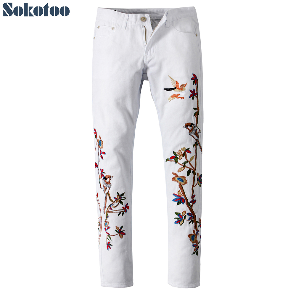 Sokotoo Men's White Bird Embroidery Denim Pants Fashion Embroidered Slim Fit Straight Pants