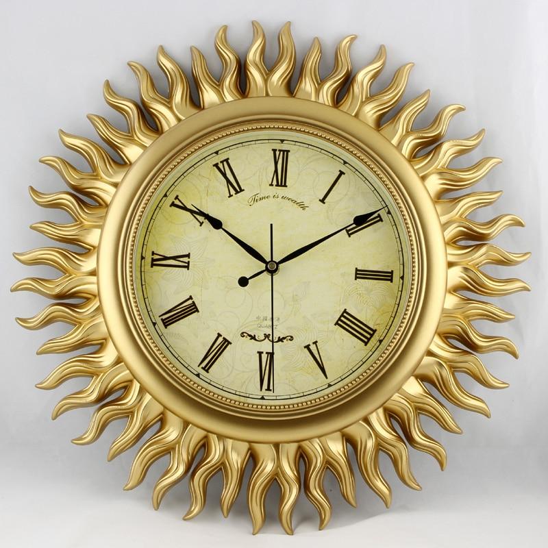Wonderland Large 18inch Gold Sun Wall Clock European