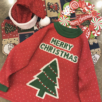 Autumn Winter Women Red Christmas Sweater Cute Christmas Tree Printed Knitted Sweaters Fashion Loose Jumpers Pullovers Sweaters