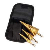 HOEN 3pcs Set 1 4 Hex Shank Step HSS 4241 HSS Spiral Flute Step Core Drill