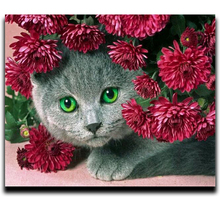 Diamond Mosaic Diy Handicrafts Embroidery 3d Drill Square Rhinestone Necklace The Complete Cat Painting And Flower