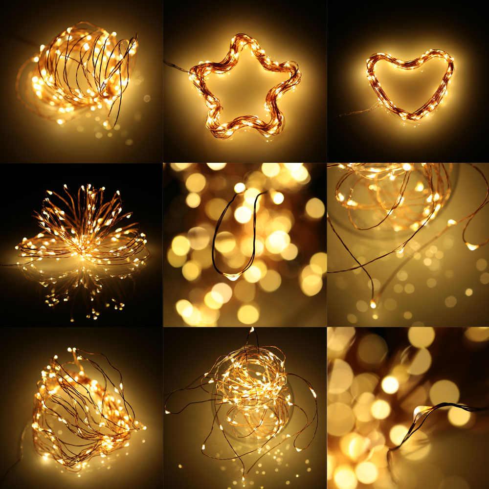 Водостойкие декоративные светлячки светодиодные струсветодио дный огни вспышка стробоскоп Открытый медный струнный провод огни затемнения США штекер