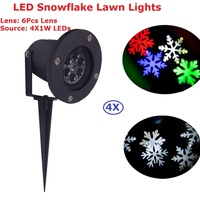Holiday Decoration Waterproof LED Stage Lights 4X1W High Quality Christmas Laser Snowflake Projector Lamp Home Garden