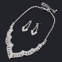 Silver Full Crystal Wedding Jewelry Set Crystals Short Necklace Set Earrings Factory Price Wedding Bridal African