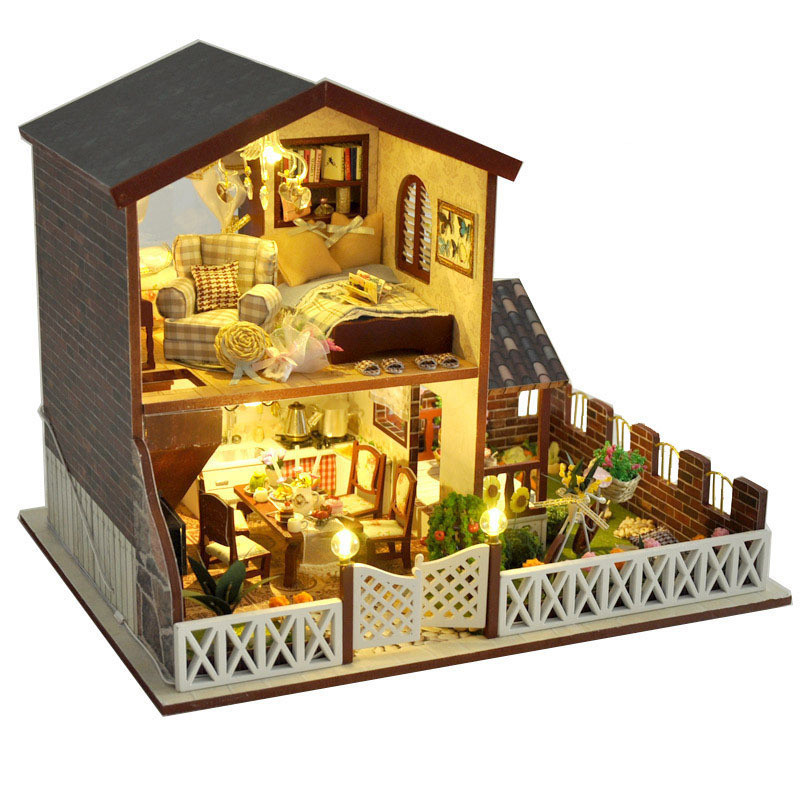 Sylvanian Families House Miniature House Diy Handmade Villa Model Wooden Doll House Toys For Girls Kids Toys Juguetes Brinquedos
