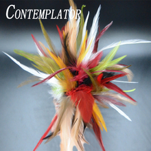 цена на 30pcs/pack rooster saddle fly tying hackle feathers for bug legs wings 8optional colors cock schlappen feathers artificial fly
