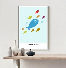 Lovely Baby Fish cartoon animal canvas Posters Print  Wall Picture for Childrens room decoration