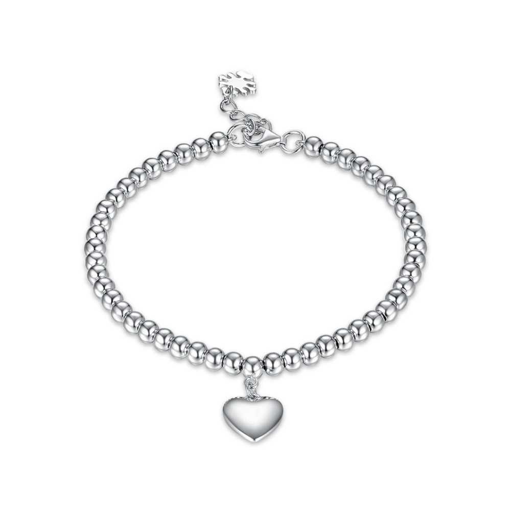 925 Sterling Silver hollow ball beads with heart bracelet