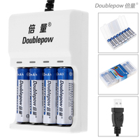 Doublepow 4 Slots USB Charger With LED Indicator 8pcs Ni CD AA 1200mAh Rechargeable Batteries Portable