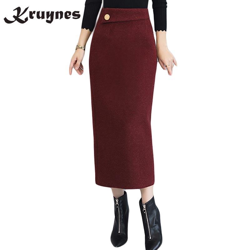 f2ff4a2cdbdba Aliexpress.com   Buy Autumn Winter Retro High Quality Woolen Skirt Fashion  Warm women package hip Wool pencil wool high waist Skirts women from  Reliable ...