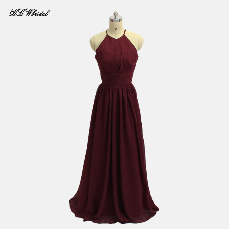 Simple Pleat Chiffon Long   Bridesmaid     Dress   Off The Shoulder A Line Floor Length Custom Made Maid Of Honor   Dresses   Cheap 2019