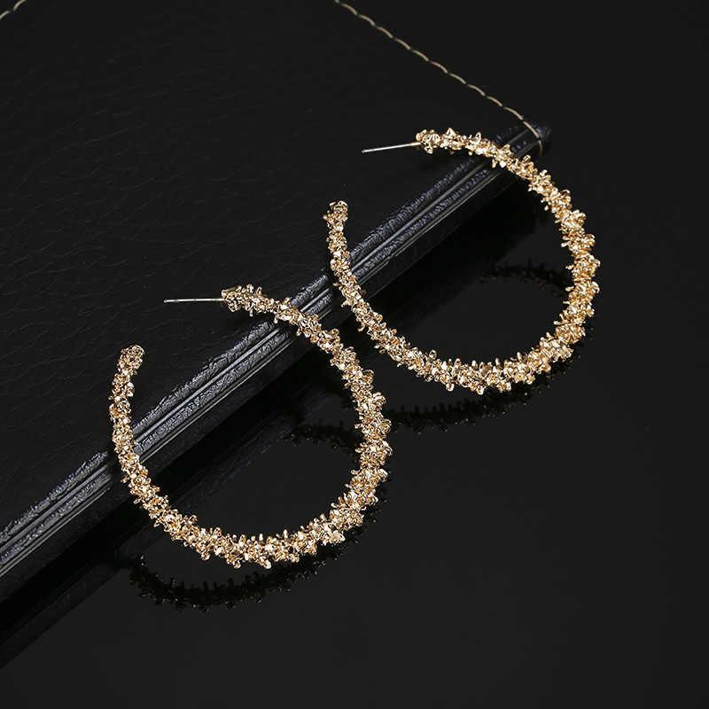 Golden Silver สี Hoop ต่างหู Hollow แฟชั่นหูของขวัญเครื่องประดับสำหรับงานแต่งงาน Kupe EJ413
