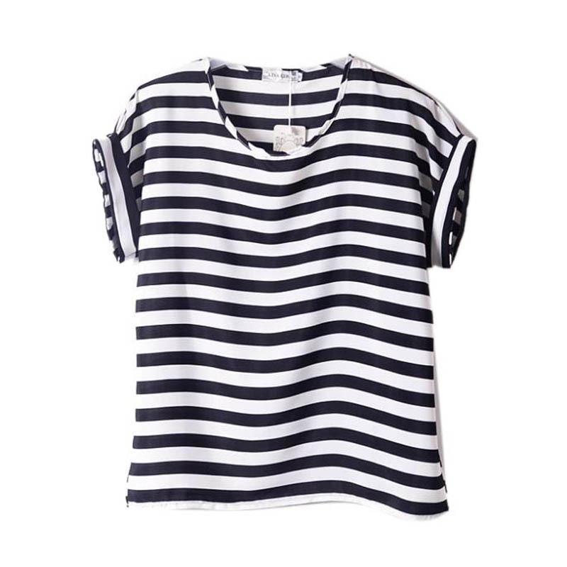aa9f9a38458 New Women Chiffon T Shirts Tops Ladies Loose Short Sleeve T-shirts Striped  Heart Lip Hot