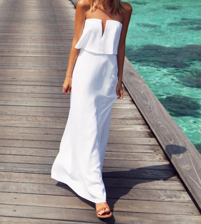 Off Shoulder Ruffle Tube Dress Women Summer Long Maxi Beach Casual Dress Party Dress Causal Fashion 2018 High Quality Elegant