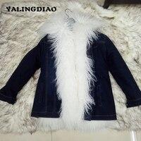 Зимние натуральным мехом парка Для женщин пиджаки короткие толстые теплые Монголия шубы дамы тонкий натуральный мех Твердые воротник парк
