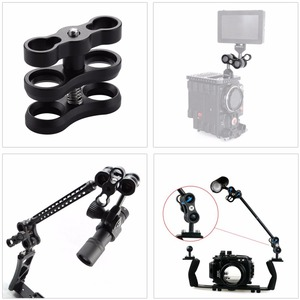 Image 4 - PULUZ Dual Aluminum Alloy Ball Clamp for Underwater Camera Arm System