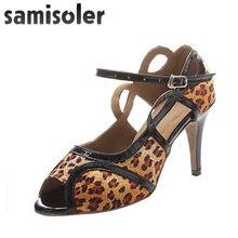 Женская обувь для латиноамериканских танцев с леопардовым/серебряным