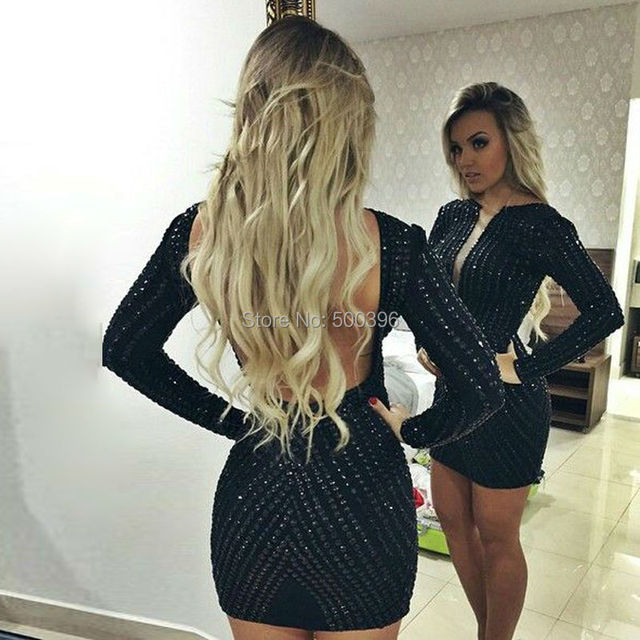 Back See Through Long Sleeves Short Party Dresses 2016 Sheath Sexy Cocktail  Dresses with Stunning Beading Mini Robe de Cocktail 8f0a53d8a9dd