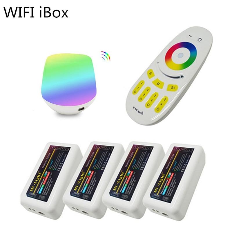 1 set Mi light WiFi Led controller iBox + 4 stks 2.4G DC12 24V led Controller RGBW + 4 Zone RF afstandsbediening voor Led Strip Licht