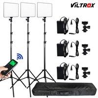 Фото студия комплект 3 шт. Viltrox VL 200T Беспроводной удаленного двухцветный светодио дный студийный видео свет лампы w/свет стоит + сумка для зер