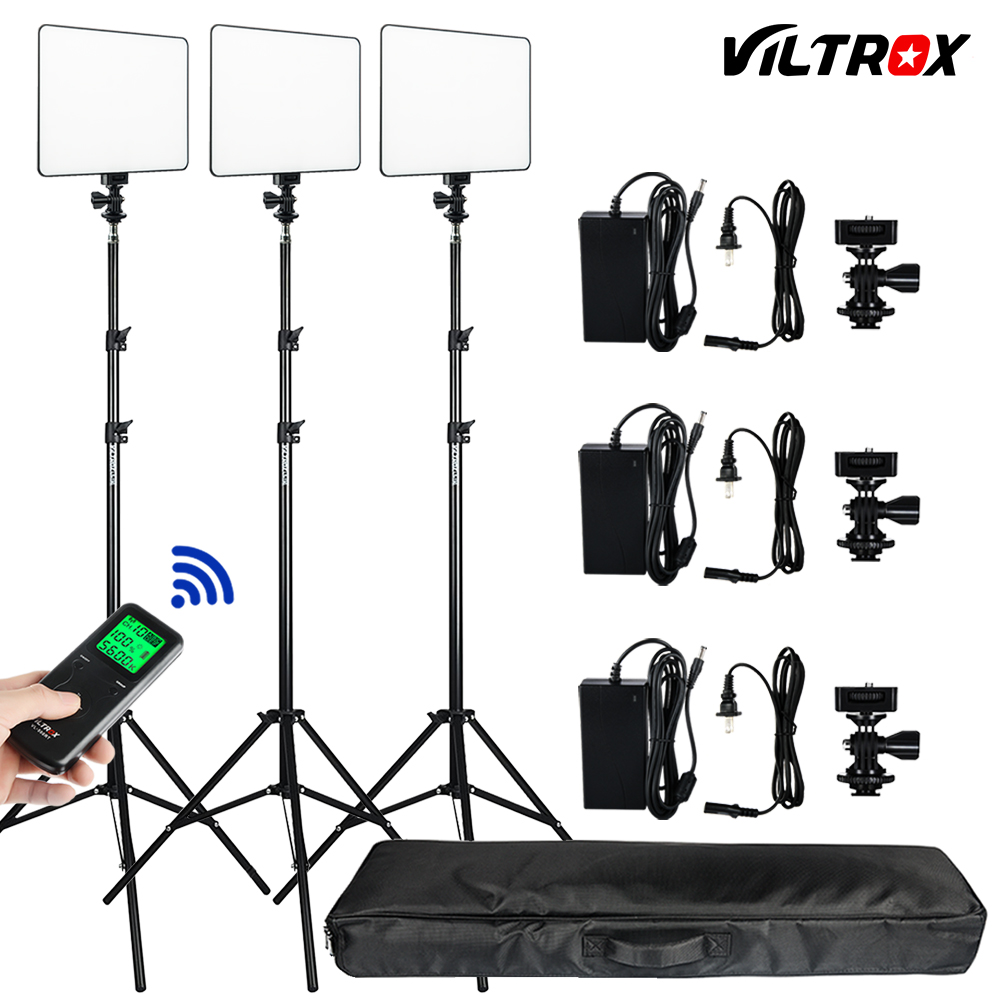 Photo Studio Set 3pcs Viltrox VL-200T Wireless Remote Bi-color LED Studio Video Light Lamp w/ Light Stands+Bag for DSLR Photo