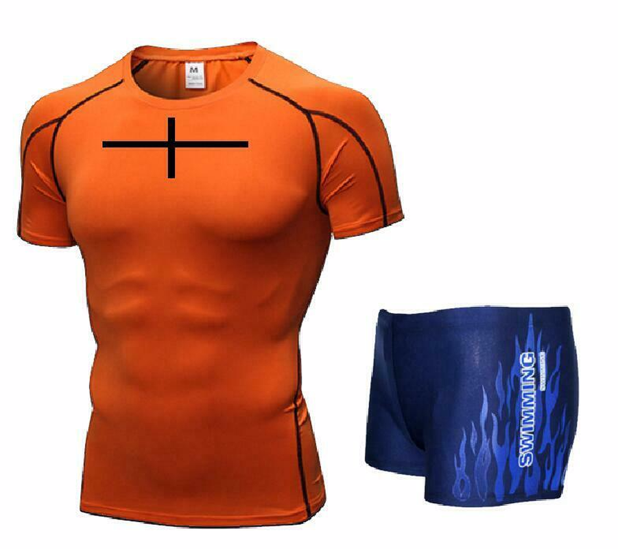 Men Swim Top T Shirt Trunks Boxers Shorts Swimwear Short Pants SwimSuit Swimming Wear Short Sleeves For Beach Spa Pool Cross